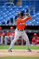 Miami Marlins Corey Bird (2) at bat during a Florida Instructional League game against the Washington Nationals on September 26, 2018 at the Marlins Park in Miami, Florida.  (Mike Janes/Four Seam Images)