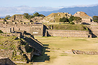 Monte Alban, Oaxaca, Mexico.  Zapotec Capital Ruins, 300A.D.-700A.D.  North Platform in Rear, Grand Plaza and Building H in front.