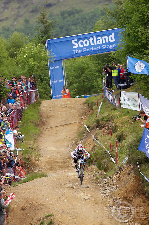 Tracy Moseley  Trek ..Downhill Race..World Cup DH & 4X , Fort William , Scotland   June 2010..pic copyright Steve Behr / Stockfile
