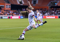 HOUSTON, TX - FEBRUARY 03: Emily Sonnett #2 of the United States crosses the ball during a game between Costa Rica and USWNT at BBVA Stadium on February 03, 2020 in Houston, Texas.
