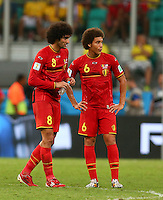 Marouane Fellaini and Axel Witsel of Belgium both sporting afros