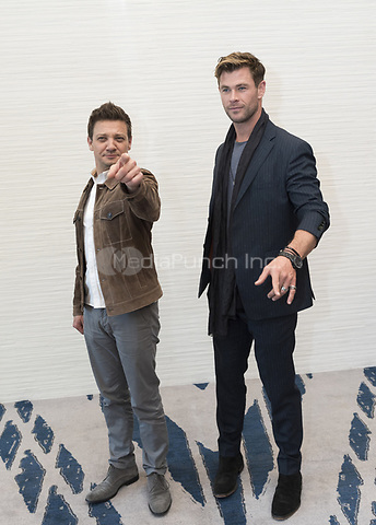 """Jeremy Renner and Chris Hemsworth, who stars in 'Avengers: Endgame"""", at the InterContinental Hotel in Los Angeles. Credit: Magnus Sundholm/Action Press/MediaPunch ***FOR USA ONLY***"""