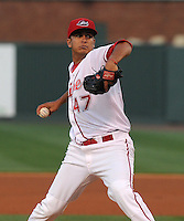 Pitcher Yeiper Castillo (47) of the Greenville Drive in a game against the Augusta GreenJackets on April 19, 2012, at Fluor Field at the West End in Greenville, South Carolina. (Tom Priddy/Four Seam Images)