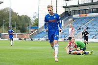Ben Stevenson of Colchester United celebrates the opening goal during Colchester United vs Oldham Athletic, Sky Bet EFL League 2 Football at the JobServe Community Stadium on 3rd October 2020