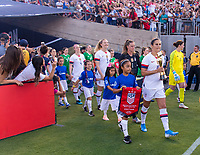 PASADENA, CA - AUGUST 4: Carli Lloyd #10 walks out with the World Cup Trophy during a game between Ireland and USWNT at Rose Bowl on August 3, 2019 in Pasadena, California.