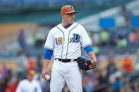 Durham Bulls relief pitcher Jaime Schultz (12) looks to his catcher for the sign against the Buffalo Bison at Durham Bulls Athletic Park on April 25, 2018 in Allentown, Pennsylvania.  The Bison defeated the Bulls 5-2.  (Brian Westerholt/Four Seam Images)
