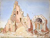 BNPS.co.uk (01202 558833)<br /> Pic: StroudAuctions/BNPS<br /> <br /> Pictured: Ruins at the French town of Barastre <br /> <br /> The poignant sketchbook of a World War One surgeon has been unearthed a century later.<br /> <br /> Captain Theodore Howard Somervell, of the Royal Medical Corps, treated hundreds of wounded Tommies in a field hospital at the Battle of the Somme. <br /> <br /> He was one of just four surgeons working flat-out in a tent, as scores of casualties lay dying on stretchers outside on the bloodiest in British military history.<br /> <br /> There is a sombre pencil sketch of a soldier on the operating table surrounded by a nurse and doctors. Another watercolour shows the bodies of soldiers strewn on a boggy Western Front battlefield.<br /> <br /> Capt Somervell, who was Mentioned In Despatches, drew landmarks including churches which were reduced to rubble in the deadly barrage. He also took rare photos of life on the frontline, including some taken inside an operating theatre. His sketchbook is being sold by a direct descendant with Stroud Auctions, of Gloucs.