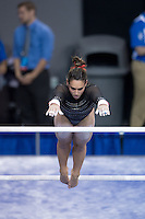 LOS ANGELES, CA - April 19, 2013:  Stanford's Samantha Shapiro competes on bars during the NCAA Championships at UCLA.