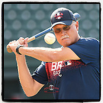 Randy Ingle, now a roving instructor for the Atlanta #Braves organization, hits grounders during batting practice for @TheRomeBraves before a game against the Greenville Drive on Wednesday, July 11, 2018, at Fluor Field at the West End in Greenville, South Carolina. (Tom Priddy/Four Seam Images)