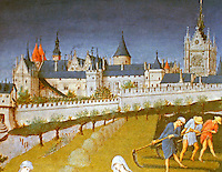 An illustration in The Très Riches Heures du Duc de Berry or Très Riches Heures. The book is the most famous and possibly the best surviving example of manuscript illumination in the Gothic style.    It is a book of hours: a collection of prayers to be said at the canonical hours. Historical illustration.