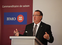 """Montreal (QC) CANADA -  April 14,2012 - Yves Devin, CEO of the STM, at the Canadian Club of Montreal's podium.<br /> <br /> - In five years, the Societe de transport de Montreal (STM) has moved from being a company that lacked motivation and that everyone wanted to see privatized to being acknowledged as """"Outstanding Public Transportation System in North America""""."""