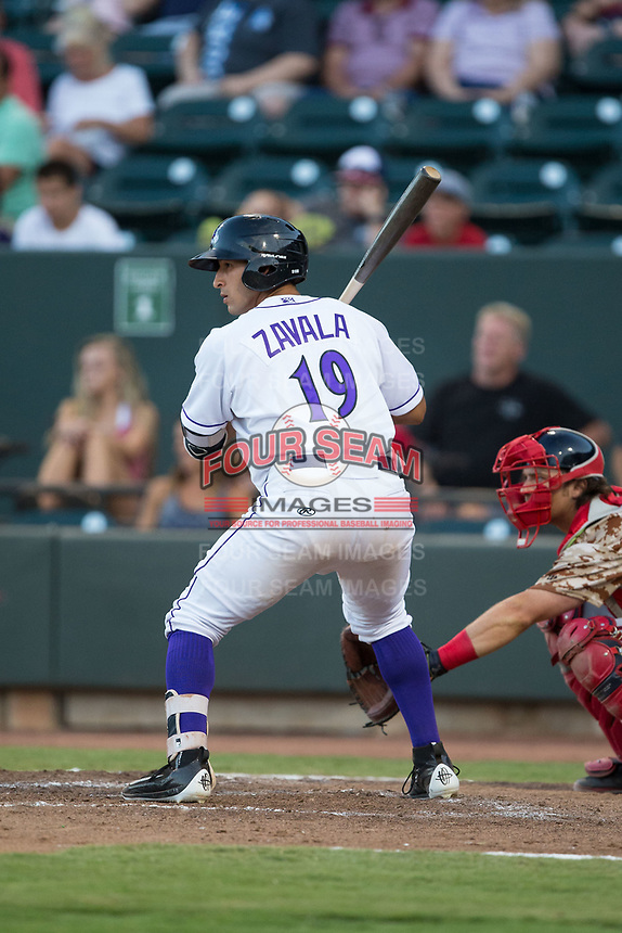 Seby Zavala (19) of the Winston-Salem Dash at bat against the Potomac Nationals at BB&T Ballpark on August 5, 2017 in Winston-Salem, North Carolina.  The Dash defeated the Nationals 6-0.  (Brian Westerholt/Four Seam Images)
