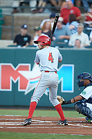 Claudio Finol (4) of the Greeneville Reds at bat against the Pulaski Yankees at Calfee Park on June 23, 2018 in Pulaski, Virginia. The Reds defeated the Yankees 6-5.  (Brian Westerholt/Four Seam Images)