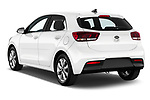 Car pictures of rear three quarter view of 2021 KIA Rio More 5 Door Hatchback Angular Rear