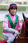 Jockey Keith Yeung Ming-lun riding #8 Jade Fortune celebrates after winning race 7 during Hong Kong Racing at Happy Valley Racecourse on October 28, 2018 in Hong Kong, Hong Kong. Photo by Yu Chun Christopher Wong / Power Sport Images