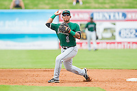 Augusta GreenJackets second baseman Alberto Robles (1) makes a throw to first base against the Greensboro Grasshoppers at NewBridge Bank Park on August 11, 2013 in Greensboro, North Carolina.  The GreenJackets defeated the Grasshoppers 6-5 in game one of a double-header.  (Brian Westerholt/Four Seam Images)