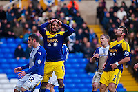 Saturday 25 January 2014<br /> Pictured:Ashley Williams holds his head in his hands after the swans miss another opportunity <br /> Re: Birmingham City v Swansea City FA Cup fourth round match at St. Andrew's Birimingham
