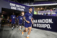 ORLANDO CITY, FL - JANUARY 31: Paul Arriola #7 of the United States makes his way out to warm up before a game between Trinidad and Tobago and USMNT at Exploria stadium on January 31, 2021 in Orlando City, Florida.