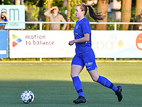 Sterre Gielen (14) of KRC Genk pictured with the ball during a female soccer game between  Racing Genk Ladies and White Star Woluwe on the 8 th matchday of play off 2 in the 2020 - 2021 season of Belgian Scooore Womens Super League , tuesday 18 th of May 2021  in Genk , Belgium . PHOTO SPORTPIX.BE | SPP | JILL DELSAUX