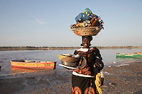 Fitou selling her bracelets on the side of Lake Retba in Senegal