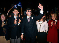 File Photo,  1995, Montreal, Quebec, Canada<br /> <br /> Mario Dumont, Leader Action Democratique du Quebec (L) applaud while <br /> Lucien Bouchard,Leader of the (Separatist Federal Party) Bloc Quebecois, salute the crowd gathered at a meetimg during the 1995 referendum<br /> on Quebec Sovereignty.<br /> <br /> Their option was rejected by the voters.<br /> <br />  <br /> Mandatory Credit: Photo by Pierre Roussel- Images Distribution. (©) Copyright 2000 by Pierre Roussel <br /> ON SPEC<br /> NOTE: Nikon LS-2000 scan from 35mm slide