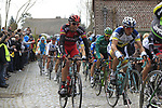 The peloton including Alessandro Ballan (ITA) BMC Racing Team climb Molenberg during the 96th edition of The Tour of Flanders 2012, running 256.9km from Bruges to Oudenaarde, Belgium. 1st April 2012. <br /> (Photo by Eoin Clarke/NEWSFILE).