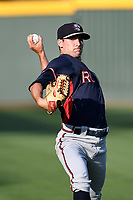 Starting pitcher Ryan Lawlor (18) of the Rome Braves warms up before a game against the Greenville Drive on Wednesday, May 31, 2017, at Fluor Field at the West End in Greenville, South Carolina. Greenville won, 7-1. (Tom Priddy/Four Seam Images)