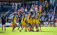 Australia celebrates winning the rugby union match between New Zealand Schools and Australia Under-18s at St Paul's Collegiate in Hamilton, New Zealand on Friday, 4 October 2019. Photo: Dave Lintott / lintottphoto.co.nz
