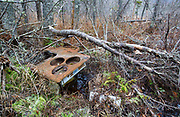 Remnants of a cooking stove made by Magee Furnace Company, Boston, Mass at the abandoned cabin settlement surrounding Elbow Pond in Woodstock, New Hampshire USA.