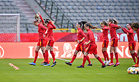 illustration picture showing the Belgian players during the warming up of a friendly female soccer game between the national teams of Belgium , called the Red Flames and The Republic of Ireland , on sunday 11 th of April 2021  in Brussels , Belgium . PHOTO Dirk Vuylsteke | Sportpix.be | SPP