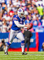 12 October 2014: Buffalo Bills punter Colton Schmidt in action against the New England Patriots at Ralph Wilson Stadium in Orchard Park, NY. The Patriots defeated the Bills 37-22 to move into first place in the AFC Eastern Division. Mandatory Credit: Ed Wolfstein Photo *** RAW (NEF) Image File Available ***