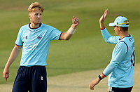 Ben Allison of Essex (left) celebrates taking the wicket of Ben Seabrook during Essex Eagles vs Cambridgeshire CCC, Domestic One-Day Cricket Match at The Cloudfm County Ground on 20th July 2021
