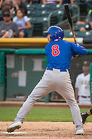 Matt Szczur (8) of the Iowa Cubs at bat against the Salt Lake Bees in Pacific Coast League action at Smith's Ballpark on August 20, 2015 in Salt Lake City, Utah. The Cubs defeated the Bees 13-2. (Stephen Smith/Four Seam Images)