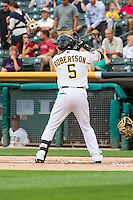 Daniel Robertson (5) of the Salt Lake Bees at bat against the Tacoma Rainiers in Pacific Coast League action at Smith's Ballpark on September 1, 2015 in Salt Lake City, Utah. The Bees defeated the Rainiers 10-1. (Stephen Smith/Four Seam Images)