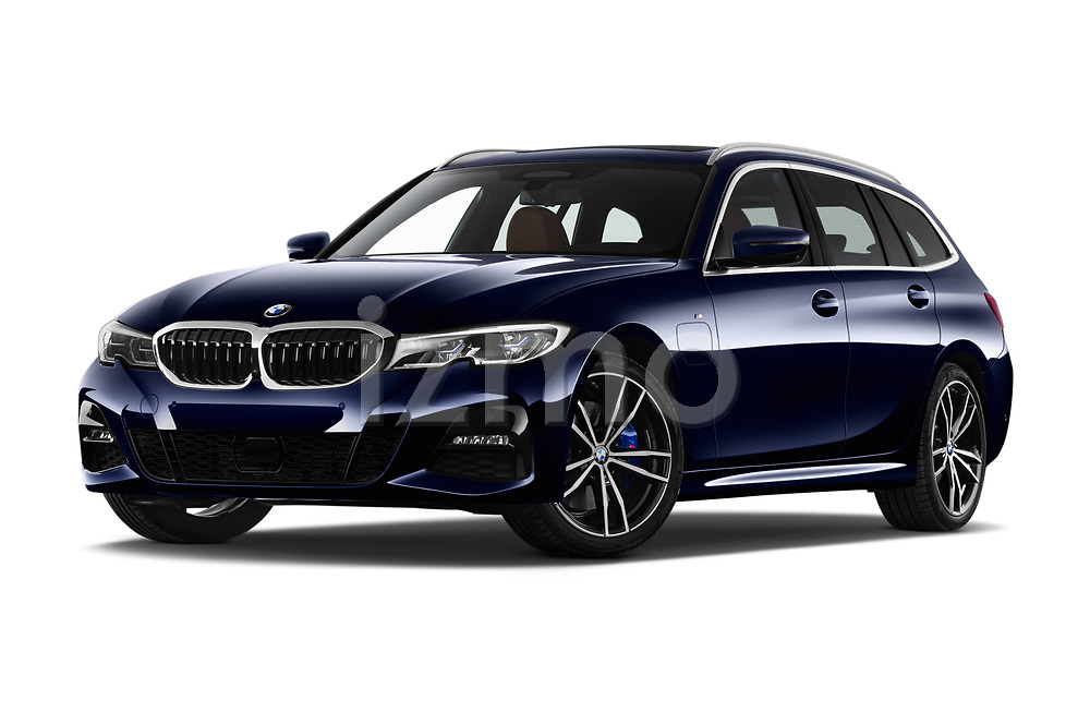 Stock pictures of low aggressive front three quarter view of 2020 BMW 3-Series M-Sport 5 Door Wagon Low Aggressive