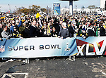 Green Bay Packer and Pittsburg Steeler fans participate in pre-game activities and celebrations before Super Bowl XLV in Arlington,Texas.
