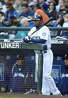 04 October 2009: Seattle Mariners designated hitter Ken Griffey Jr waits at the top of the dug out for his turn to bat against Texas Rangers.  Seattle won 4-3 over the Texas Rangers at Safeco Field in Seattle, Washington.