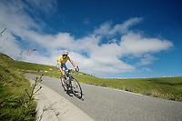 Vincenzo Nibali (ITA/Astana) descending the Port de Balès <br /> <br /> 2014 Tour de France<br /> stage 16: Carcassonne - Bagnères-de-Luchon (237km)