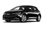 Stock pictures of low aggressive front three quarter view of 2019 Toyota Corolla SE 5 Door Hatchback Low Aggressive