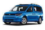 Stock pictures of low aggressive front three quarter view of 2021 Volkswagen Caddy California-Maxi 5 Door Camper Van Low Aggressive