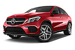 Stock pictures of low aggressive front three quarter view of 2016 Mercedes Benz GLE-Coupe - 5 Door Suv Low Aggressive