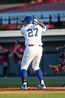 Josh Banuelos (27) of the Burlington Royals at bat against the Danville Braves at Burlington Athletic Park on July 5, 2014 in Burlington, North Carolina.  The Royals defeated the Braves 5-4.  (Brian Westerholt/Four Seam Images)