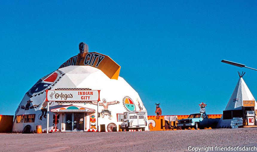 "R. Buckminster Fuller: Fuller Dome.  ""Indian City"" Navajo Reservation, I-40, Arizona.  Photo '76."