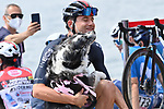 Filippo Ganna (ITA) Ineos Grenadiers makes friends at sign on before the start of Stage 20 of the 2021 Giro d'Italia, running 164km from Verbania to Valle Spluga-Alpe Motta, Italy. 29th May 2021.  <br /> Picture: LaPresse/Gian Mattia D'Alberto   Cyclefile<br /> <br /> All photos usage must carry mandatory copyright credit (© Cyclefile   LaPresse/Gian Mattia D'Alberto)