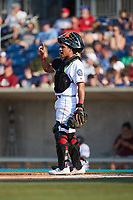 Kannapolis Cannon Ballers catcher Victor Torres (2) on defense against the Charleston RiverDogs at Atrium Health Ballpark on July 4, 2021 in Kannapolis, North Carolina. (Brian Westerholt/Four Seam Images)
