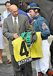 09 May 30: Kent Desormeaux talks with trainer Tom Albertrani after riding Gozzip Girl (no. 4) to victory in the 15th running of the grade 2 Sands Point Stakes for three year old fillies at Belmont Park in Elmont, New York.