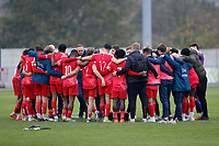 8th November 2020; SkyEx Community Stadium, London, England; Football Association Cup, Hayes and Yeading United versus Carlisle United; A disappointed Hayes & Yeading United squad huddle up after losing in the penalty shoot out