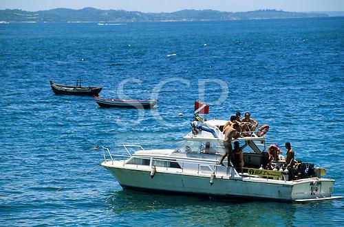 Salvador, Bahia, Brazil. A dive boat full of young men.
