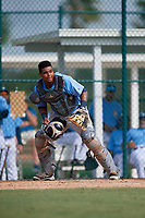 Tampa Bay Rays catcher Ronaldo Hernandez (90) during an Instructional League game against the Pittsburgh Pirates on October 3, 2017 at Pirate City in Bradenton, Florida.  (Mike Janes/Four Seam Images)