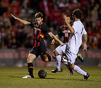 Patrick Mullins (15) of Maryland takes a shot during the game at Ludwig Field on the campus of the University of Maryland in College Park, MD.  Maryland defeated Pittsburgh, 2-0.